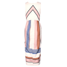 Sleeveless Fashion Print Large Strip Skirt