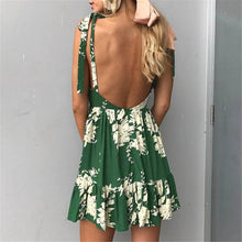Bohemian Printed Sling V-Neck Lace Print Dress