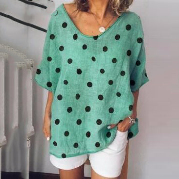 Casual Fashion Large Size Dot T-Shirt Loose Top