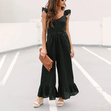 Women's Commuting Pure Color Single-Breasted Ruffled Jumpsuit