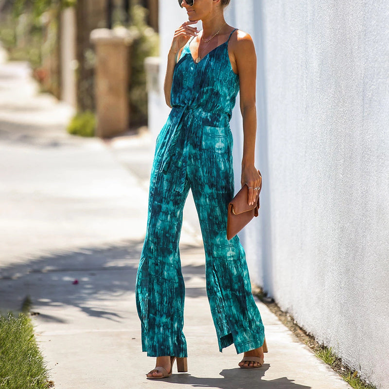 Women's Bohemian Printed Color Sleeveless Belted Slit Sling Jumpsuit
