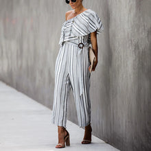 Women's Commuting Sloping Shoulder Ruffled Stripe Belted Jumpsuit