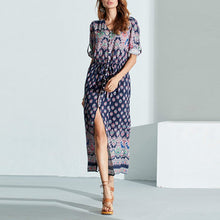 Bohemia Printed Sexy V Collar Expansion Vacation Dress With Plus Size