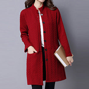 Band Collar Single Breasted Pocket Embossed Plain Coat