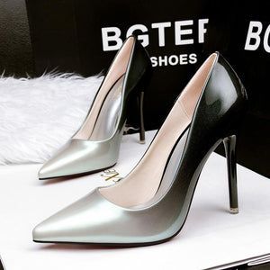 Gradient Patent OL Bridal Pointed-Toe High Heels