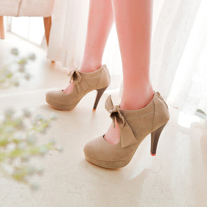 Bow-Knot Hollow High Heels Ladies Shoes
