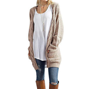Fashion Loose Knit Cardigan With Pocket