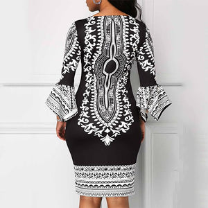 Vintage Printed Flare Sleeves Bodycon Dress