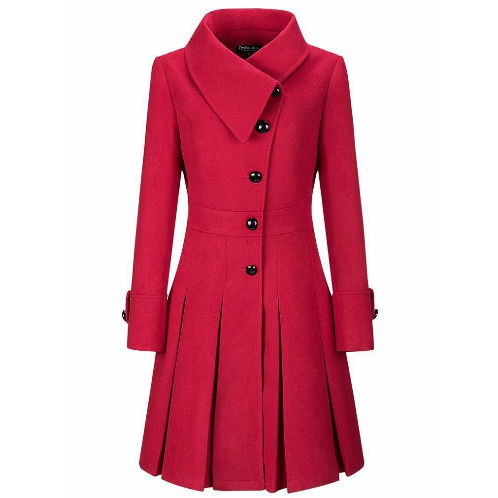 Fold-Over Collar Single Breasted Plain Swing Woolen Coats