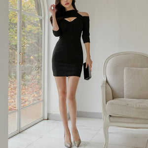 Sexy Off Shoulder Hollow Out Slim Bodycon Dress