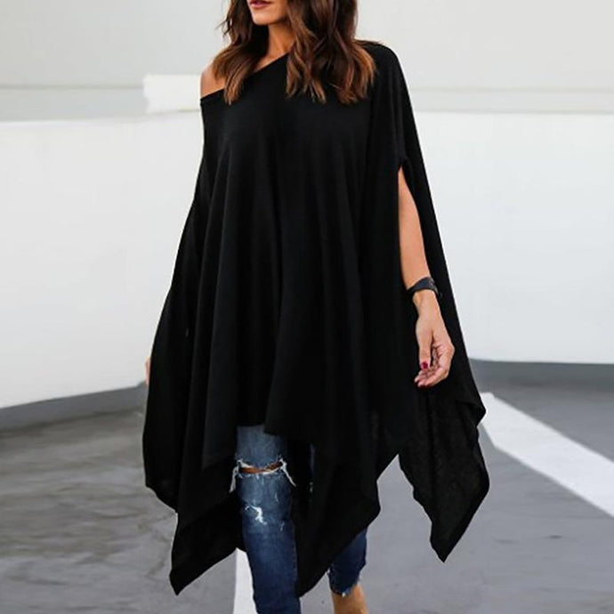 Loose Asymmetrical Hem Batwing Sleeve Sweater