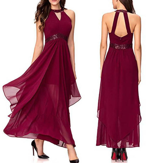 Halter V Collar Sleeveless Pure Color Maxi Evening Dress