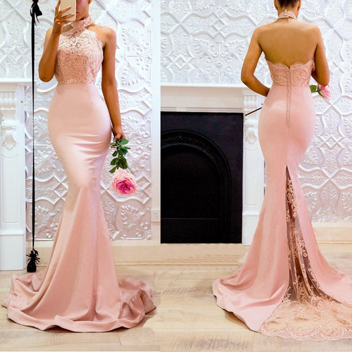 Pink Halter Neck Fishtail Wedding Bodycon Maxi Evening Dress