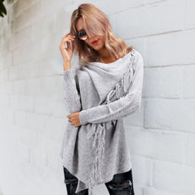Fashion Plain Irregular Long Sleeve Sweater