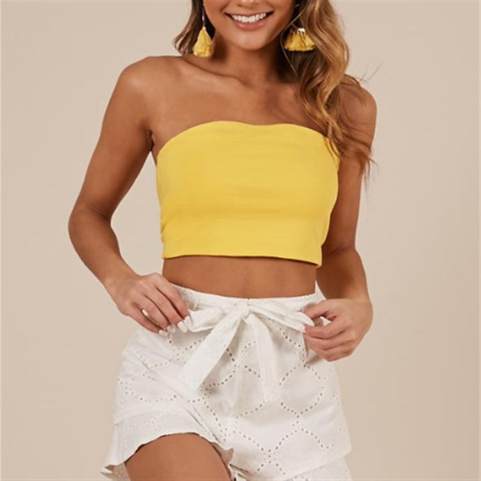 Wrapped Chest Sleeveless Backless Lace-Up Sweet Top