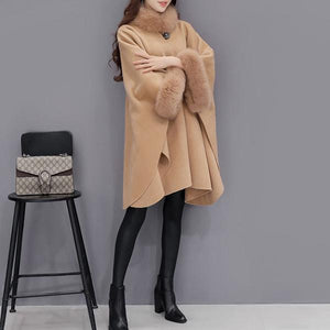 Faux Fur Collar  Frayed Trim  Plain  Batwing Sleeve Coat