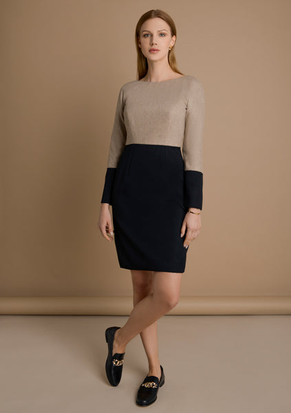 This long sleeve, wool dress was designed with functionality in mind to feel non-restrictive. Designed with soft Italian beige wool-silk. Main image – full view.