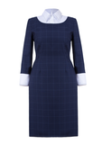 Heaton - classic blue checks work dress