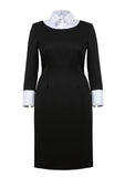 Picture of Kotys' elegant black dress made from a high-quality Italian wool material – front view.