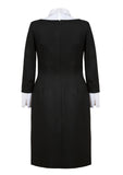 5.	Elegant black dress. Made from a high-quality Italian wool material – back view image.