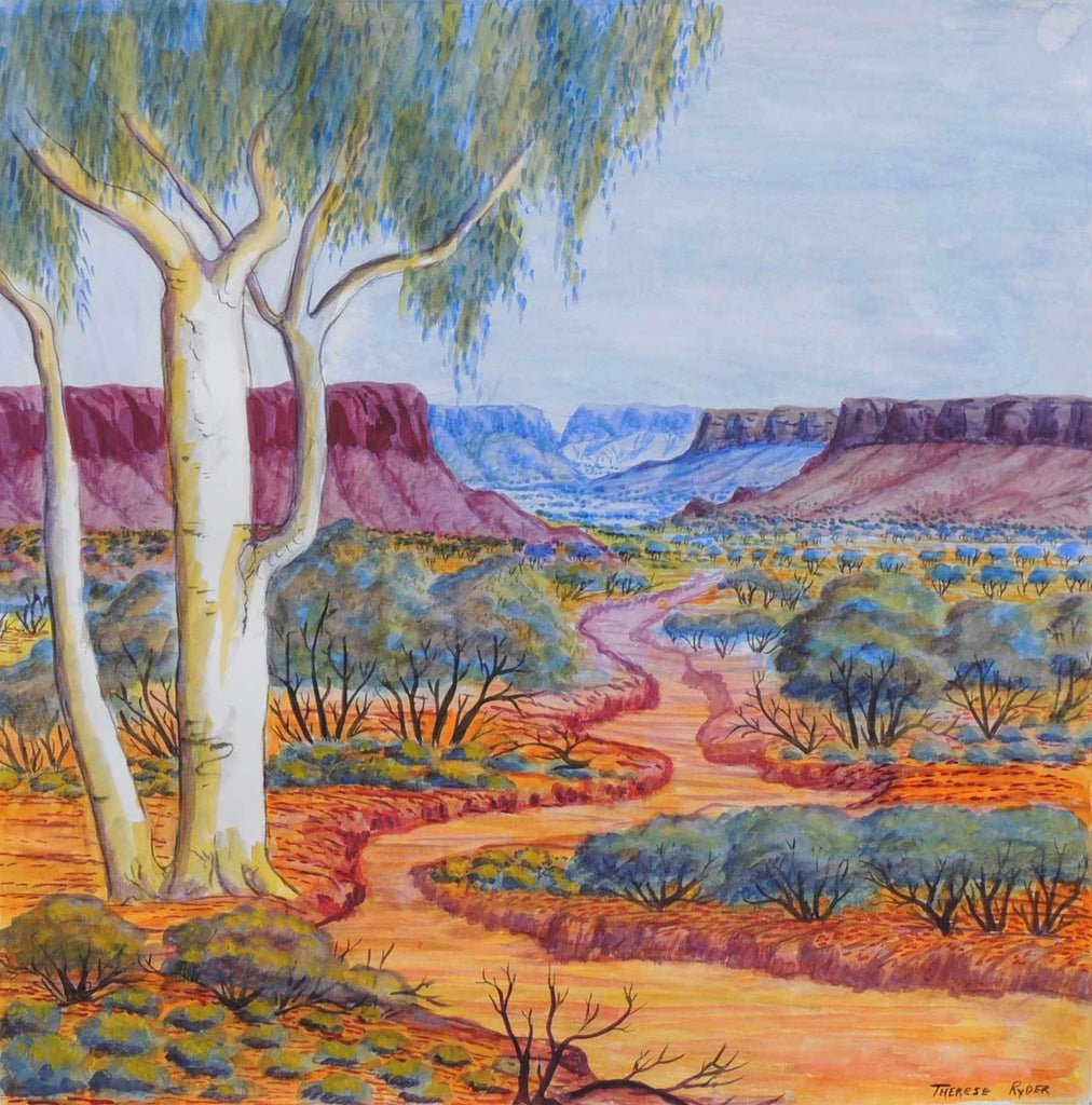 "THERESE RYDER / CHIFFON CLOTH / SQUARE ""EAST MACDONNELL RANGES"""