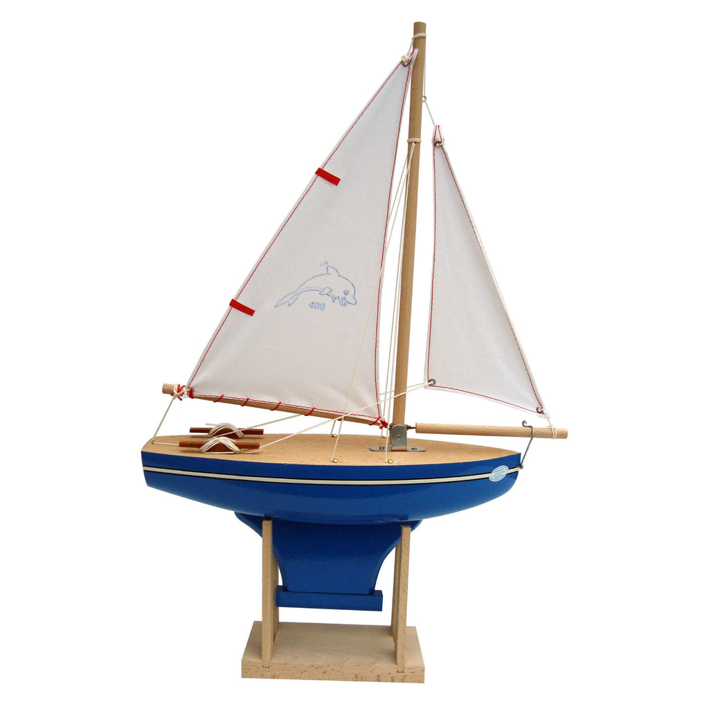 LITTLE FRENCH HEART | BATEAUX TIROT TOY WOODEN DOLPHIN BOAT BLUE