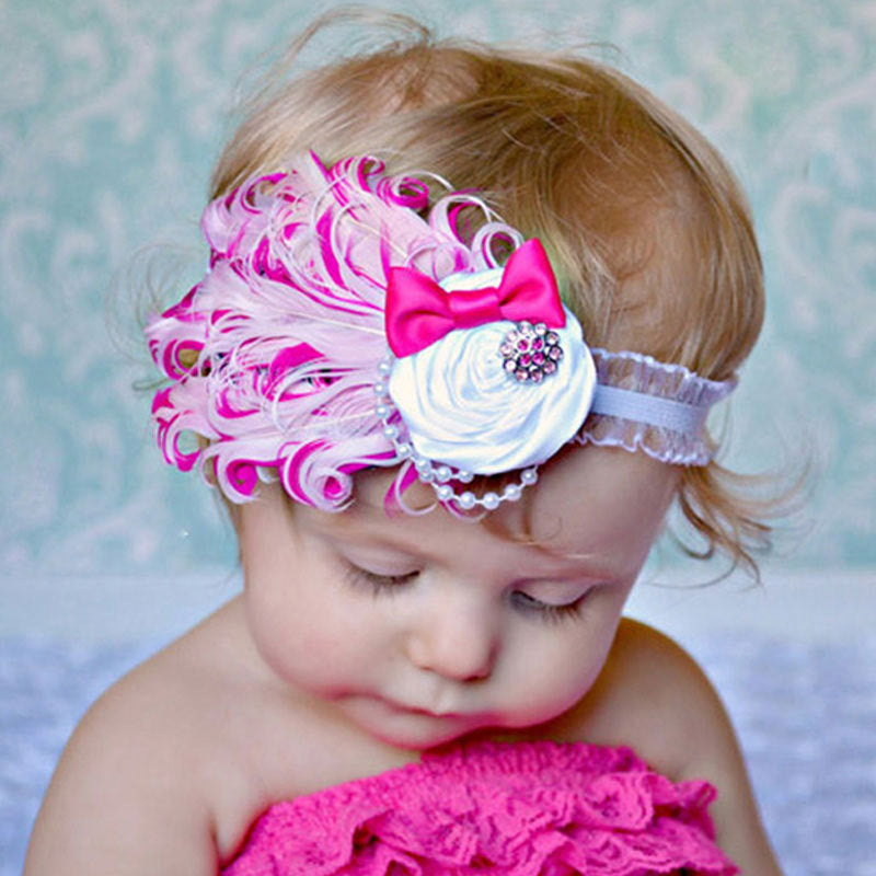 1pcs Baby Hair Band Feather Flower Hair Bow Head Band Baby Girl Hair  Accessories Baby Girl ee24cc40264