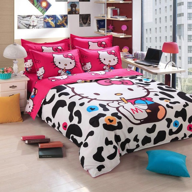 d28b81dcc Home textiles bedclothes,Child Cartoon pattern,Hello kitty bedding sets  include duvet cover bed