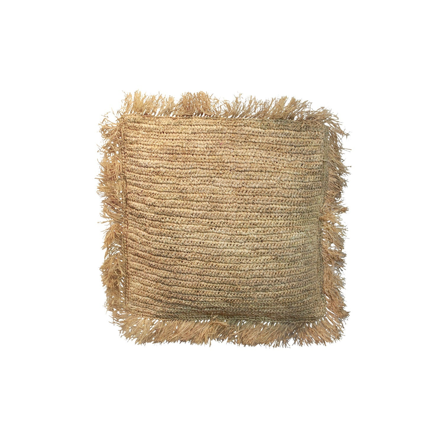 THE RAFFIA CUSHION SQUARE M– NATURAL
