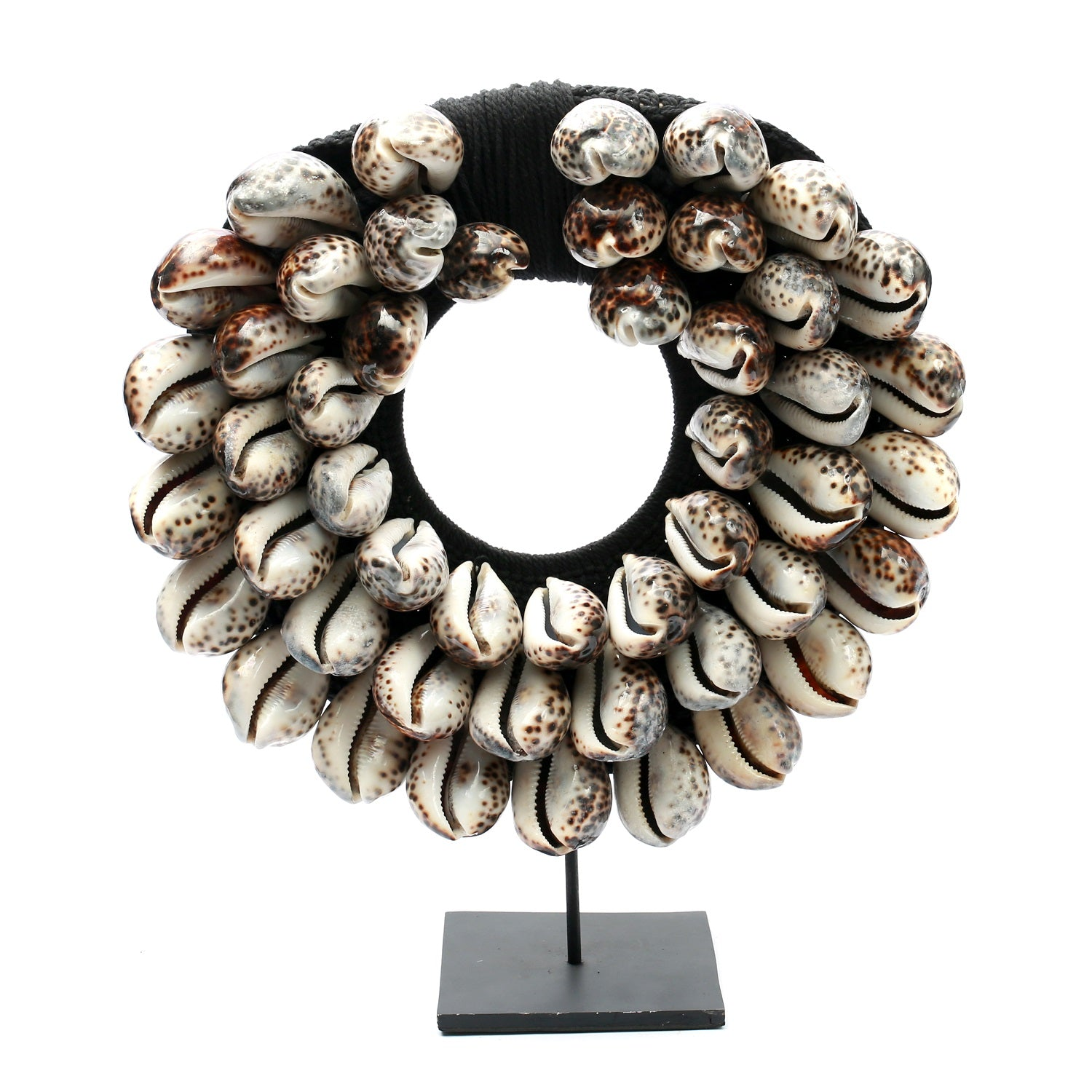 THE TIGER COWRIE NECKLACE ON STAND – BLACK