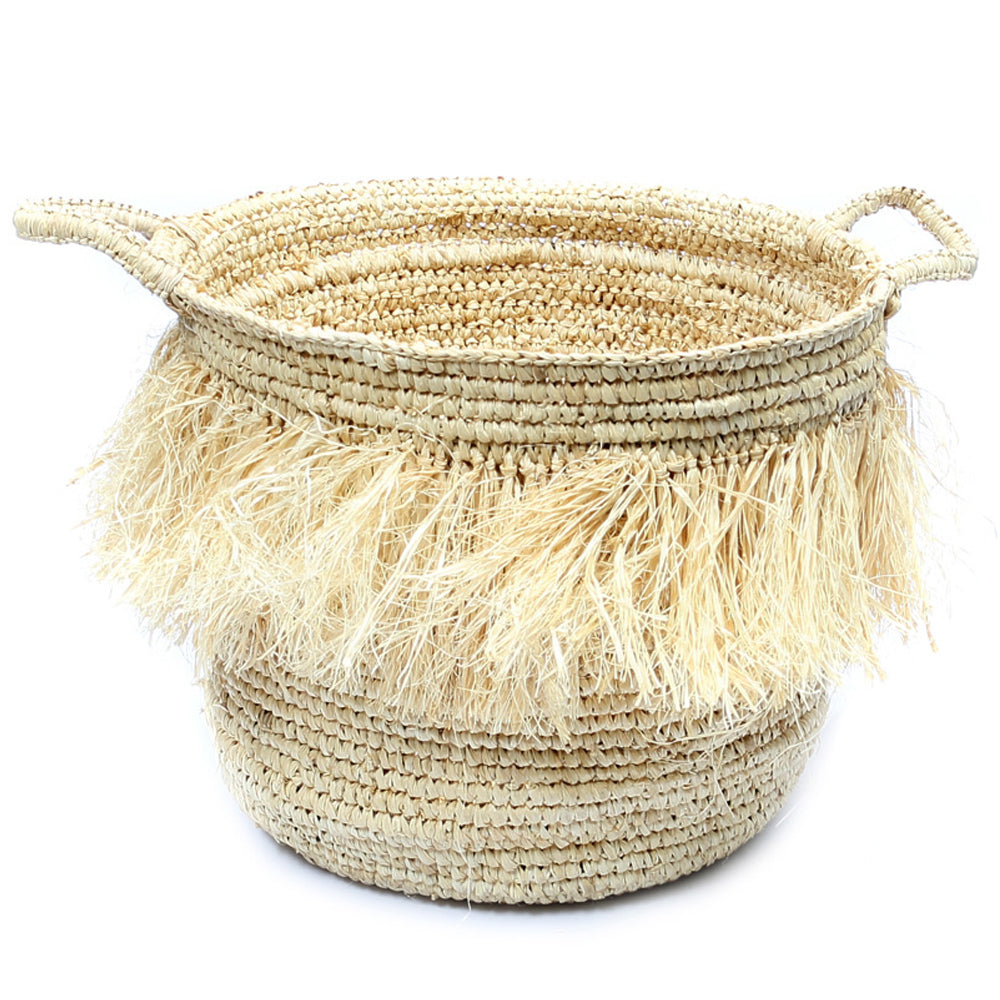 THE HULA RAFFIA BASKETS WITH HANDLES – NATURAL – L