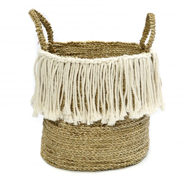 THE FRINGE MACRAME SEAGRASS WITH HANDLE – NATURAL WHITE