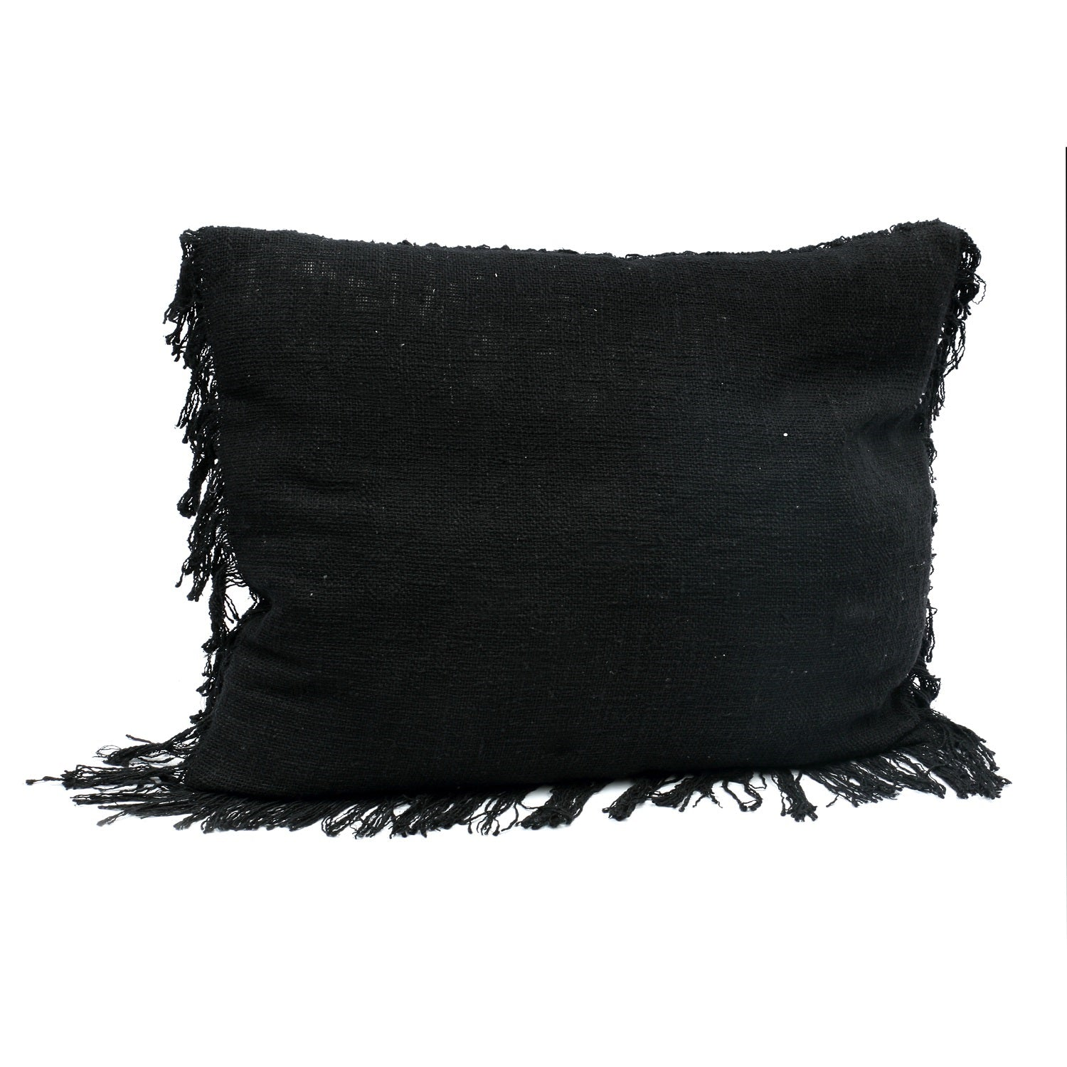 THE FRINGED COTTON CUSHION COVER – BLACK