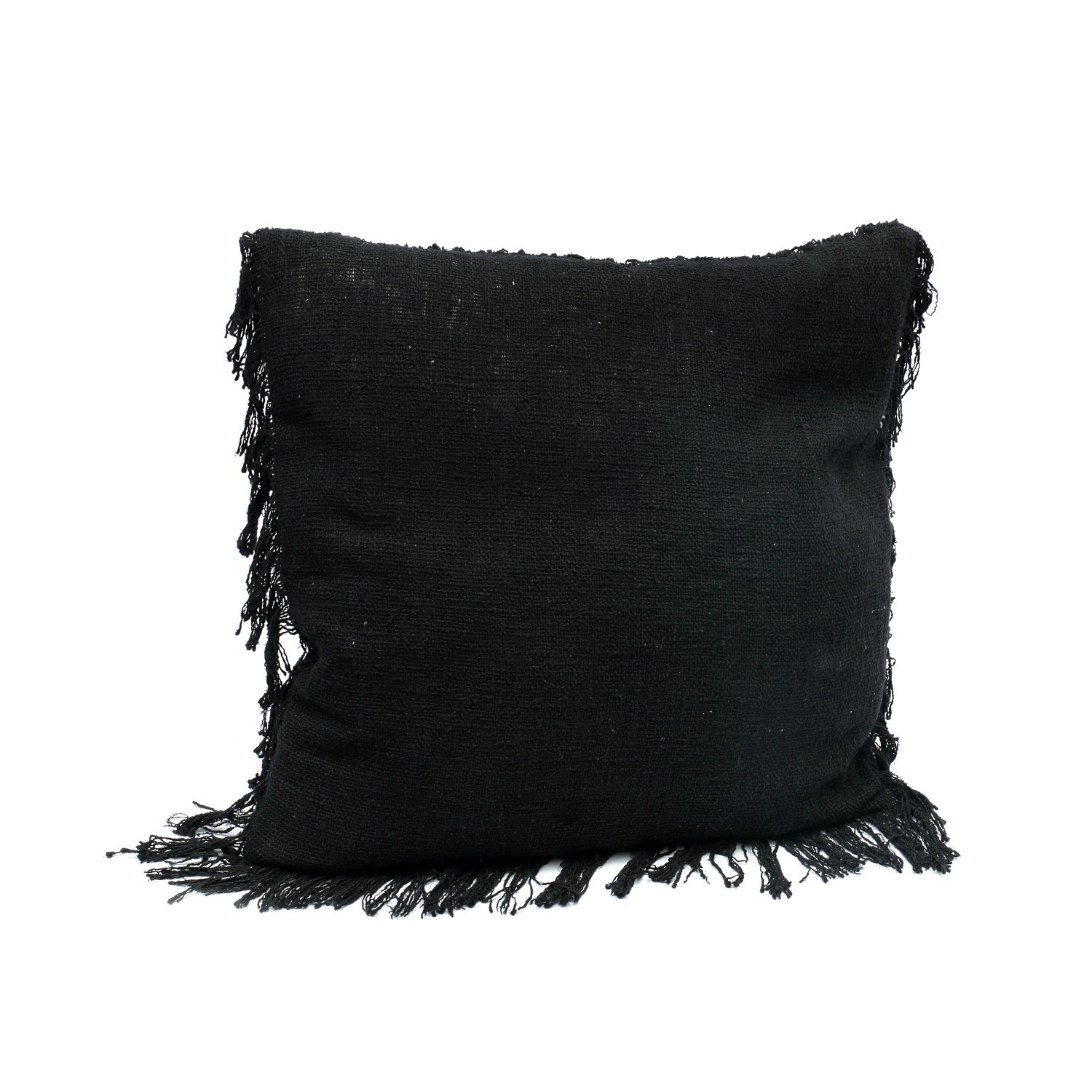 THE FRINGED COTTON CUSHION – BLACK