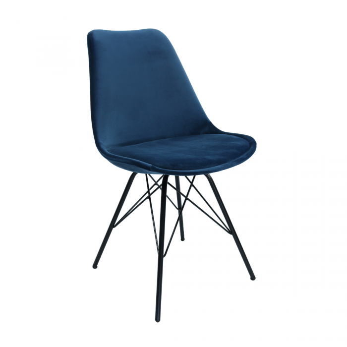 VELVET DINING CHAIR - DARK BLUE