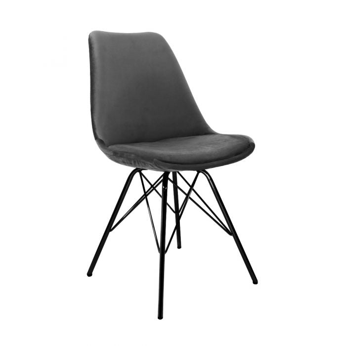 VELVET DINING CHAIR - DARK GREY