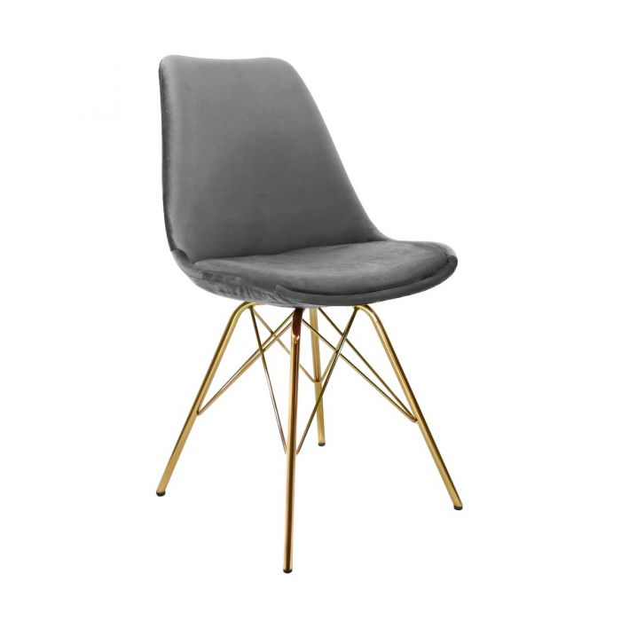 VELVET DINING CHAIR - GREY