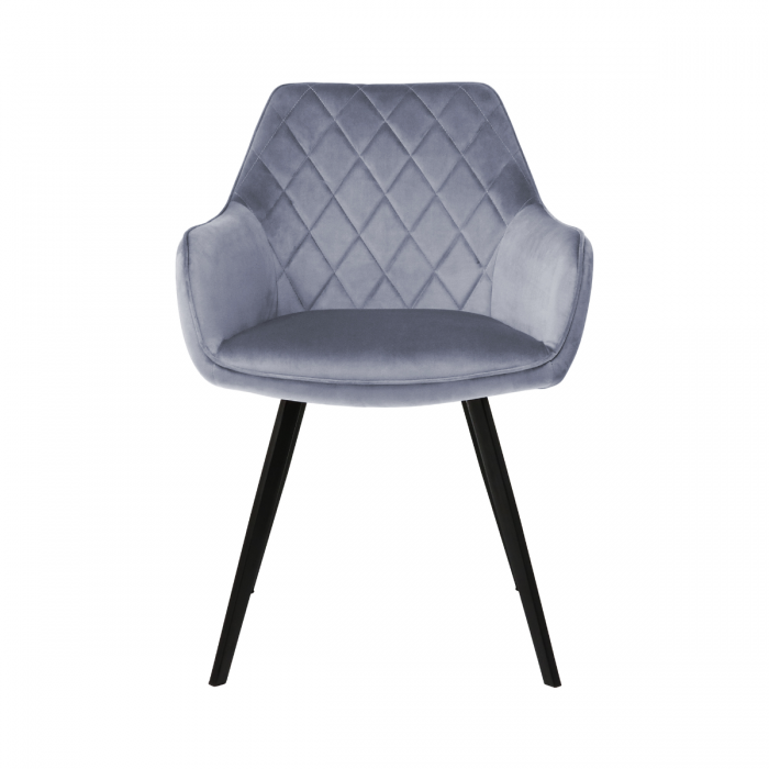 DINING CHAIR VELVET KARL  - GREY