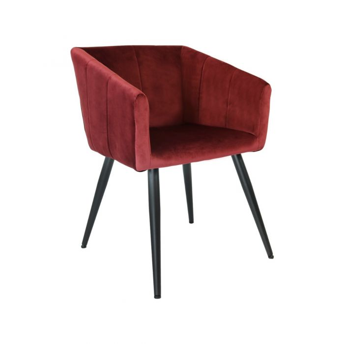 VELVET DINING CHAIR LIV - VINTAGE RED
