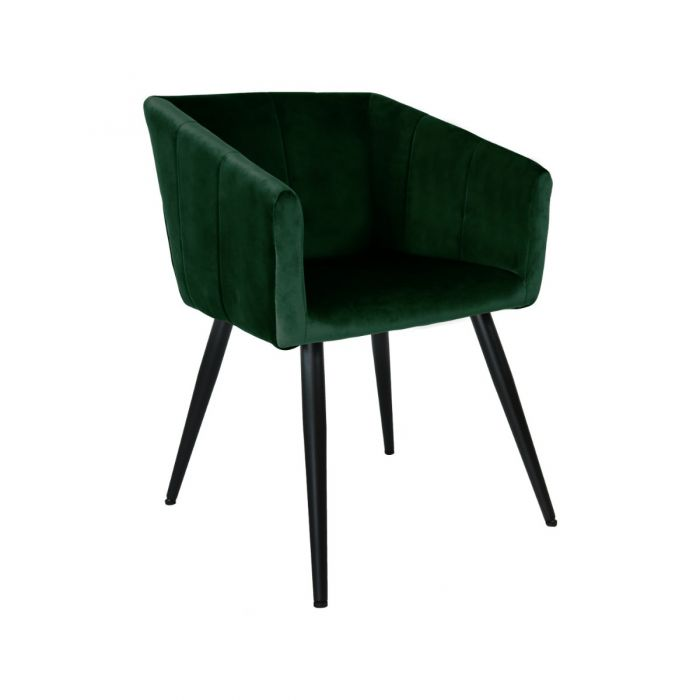 VELVET DINING CHAIR WITH ARMS - GREEN