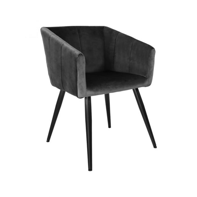 VELVET DINING CHAIR LIV - GREY