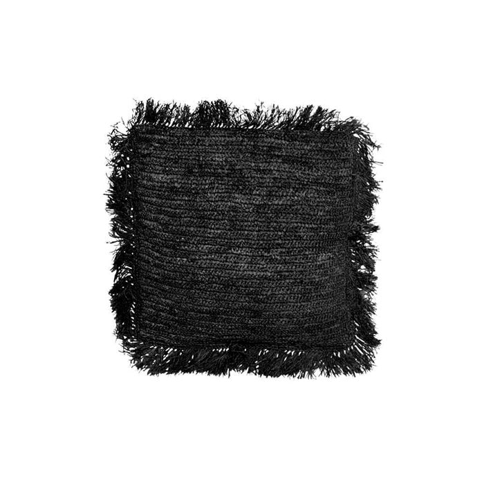 THE RAFFIA CUSHION SQUARE M – BLACK