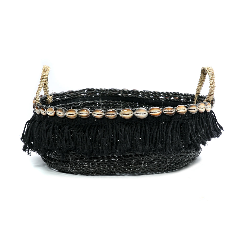 THE BOHO FRINGE BLACK BASKET