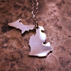 Stainless Steel Michigan State Necklace
