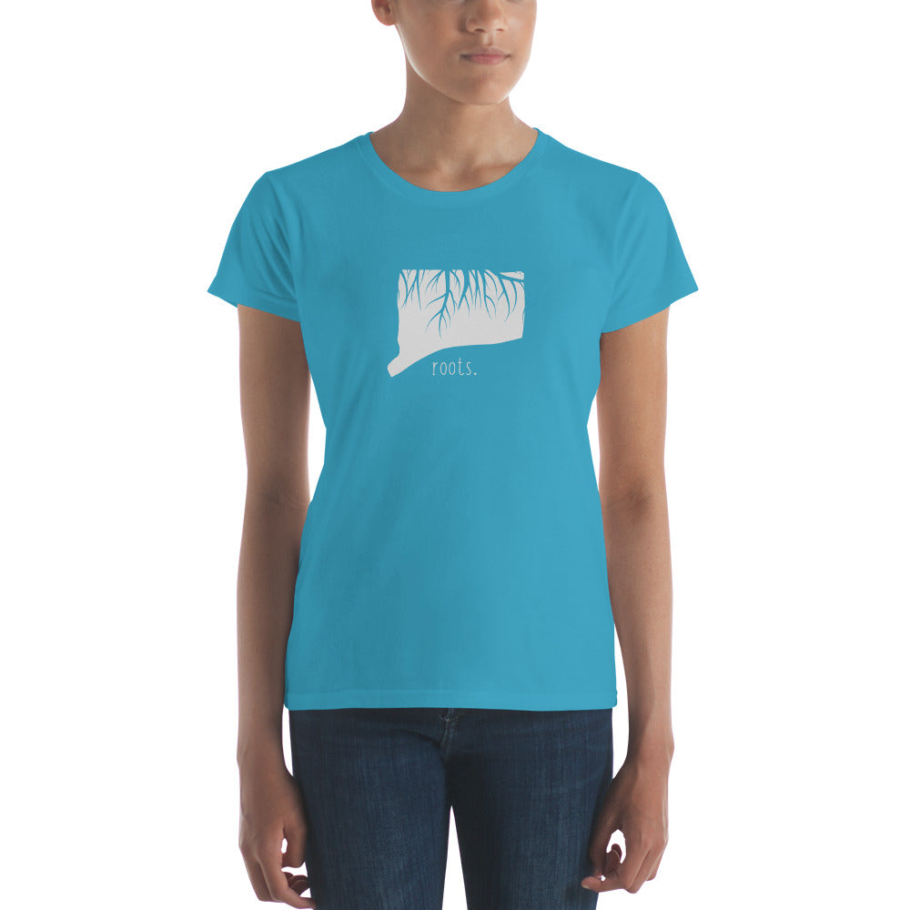 SALE! Caribbean Blue Connecticut Roots Ladies Tee, Large - OnlyInYourState Apparel