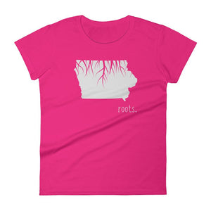 SALE! Hot Pink Iowa Roots Ladies Tee, Size Small - OnlyInYourState Apparel