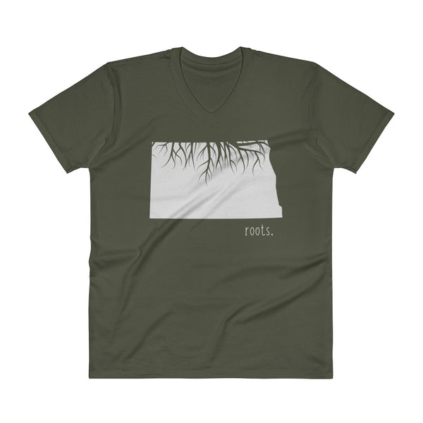 North Dakota Roots V-Neck T-Shirt - OnlyInYourState Apparel