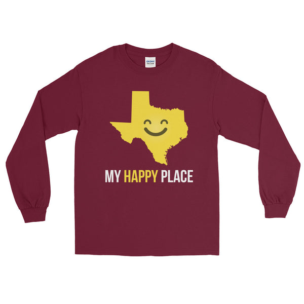 TX Is My Happy Place Long Sleeve - OnlyInYourState Apparel