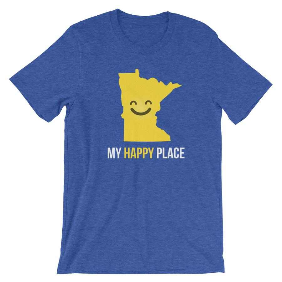 SALE! Heather True Royal MN Is My Happy Place Tee, Large