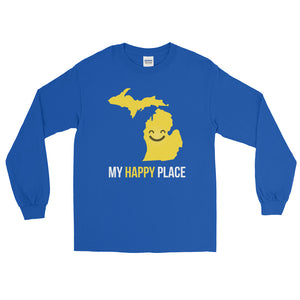 MI Is My Happy Place Long Sleeve - OnlyInYourState Apparel
